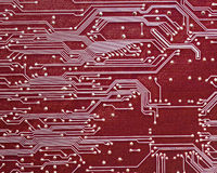 Computer circuit board in red Royalty Free Stock Photo