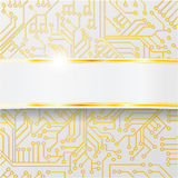 Computer circuit board with wiring and golden band. Bright computer circuit board with wiring and golden band Vector Illustration