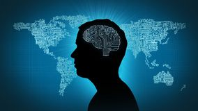 Computer circuit brain - man in front of circuitboard world. Male profile silhouette with gearwheel brain in front of Earth map Stock Photos
