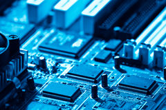 Computer circuit close-up Stock Photo