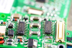 Computer circuit cpu main board electronics device : concept of hardware and technology. royalty free stock images