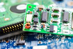Computer circuit cpu chip mainboard core processor electronics device royalty free stock images