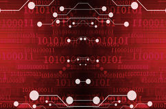 Computer circuit on a dark red background Royalty Free Stock Image