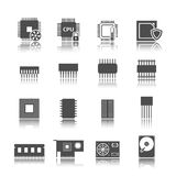 Computer circuit icons set Royalty Free Stock Image
