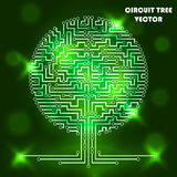 Computer circuit tree. Computer circuit scheme tree. Technology icon. Network concept. Light, shine. Vector illustration Royalty Free Stock Photo