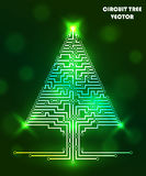 Computer circuit tree. Computer circuit scheme tree. Technology icon. Network concept. Light, shine. Vector illustration Stock Image