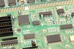 Computer Circuitry. Details of a computer sound card stock images