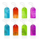 Computer circuitry retail tags. Vector illustration of highly detailed colorful computer circutry technological retail tags with leash. Beautiful gradients Stock Photos