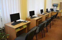 Computer class in rural school. Chortkiv - Ternopil - Ukraine - January 12, 2018. Computer class in the secondary school of the village of Svidova in Ukraine Royalty Free Stock Photography