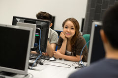 Computer class. Students having computer class at the university Royalty Free Stock Photo