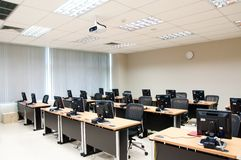 Computer classroom. With many machines Stock Image
