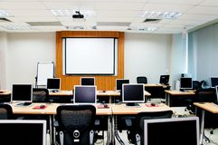 Computer classroom. Many computers in computer classroom Royalty Free Stock Image