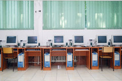 Computer classroom. Back to school Royalty Free Stock Image