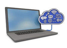 Computer and Cloud - 3D Royalty Free Stock Photos
