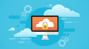 Computer Cloud Database Lock Screen Data Privacy Protection Stock Photography