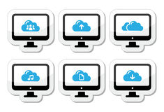 Computer and cloud icons set for web stock illustration