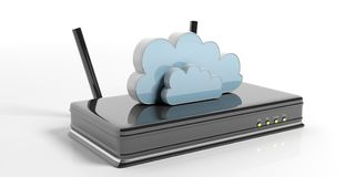 Computer cloud on a Wifi router - white background. 3d illustration. Computer cloud on a Wifi router - isolated on white background. 3d illustration Stock Photo
