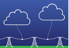 Computer clouds. Clouds connected to wires on the ground. Computer cloud concept Royalty Free Stock Images