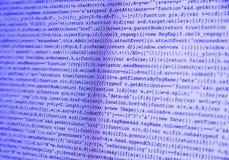 Computer-Code auf Schirm-Purpur Lizenzfreie Stockbilder