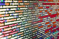 Computer code data. Abstract source code background. Big data database app. Webdesigner Workstation. PHP syntax highlighted royalty free stock photography