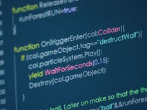Computer code. Image showing snippet of a computer code from a video game Stock Image