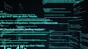 Computer code running in a virtual space. camera moves through the text. Abstract technology programming code. Computer stock illustration