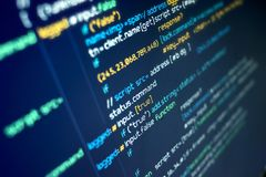 Computer Coding background. Modern programming source code on a computer screen. Background Royalty Free Stock Photo