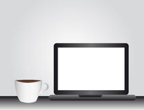 Computer and coffee drink Royalty Free Stock Photos