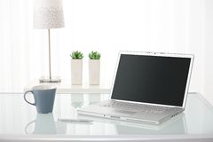 Computer, coffee mug, lamp and plants Stock Images