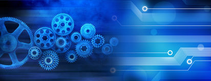 Innovation Computer Data Cogs Technology Banner Background. A blue banner of old technology and new using computer circuits and old machine cogs