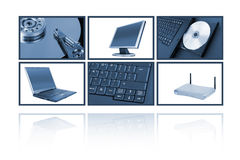 Computer collage. Computer themed collage blue tinted over white background stock illustration