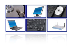 Computer collage. Computer themed collage over white background royalty free stock photo