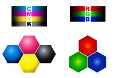 RGB and CMYK colour Royalty Free Stock Photos