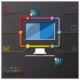 Computer Communication Connection Timeline Business Infographic Royalty Free Stock Image