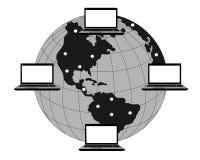 Computer communications around the globe. Computers around the globe  on white Stock Photo