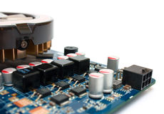 Computer component graphics card, heat sink copy space Royalty Free Stock Image