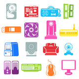 Computer component icons Royalty Free Stock Photo