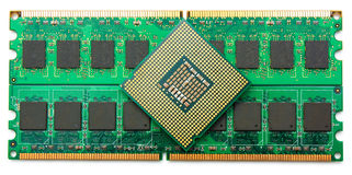Computer component RAM and CPU Stock Image