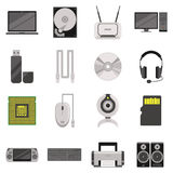 Computer Components And Accessories Icon Set. Laptop and computer with components and accessories and electronic devices flat icons set isolated vector Royalty Free Stock Photos