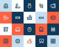 Computer components icons. Flat style Stock Image