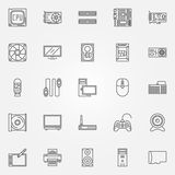 Computer components icons set Stock Image