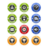 Computer and components selling icons set Stock Images