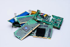 Computer components in stack stock image