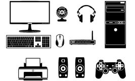 Computer components vector set stock illustration