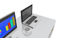 Computer. Computet office 3D Stock Photos