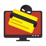 Computer with computing alert. Vector illustration design Royalty Free Stock Images