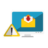 Computer with computing alert. Vector illustration design Stock Image