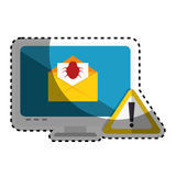 Computer with computing alert. Vector illustration design Stock Photo