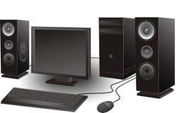 Computer con gli altoparlanti, topo, tastiera, unità di sistema Fotografie Stock
