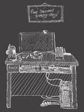 Computer con la tastiera sull'illustrazione dello scrittorio su un buio royalty illustrazione gratis